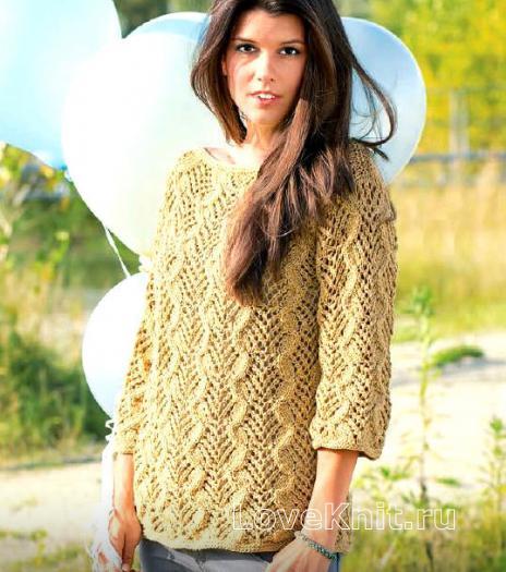 Как связать спицами ажурный пуловер с узором из кос