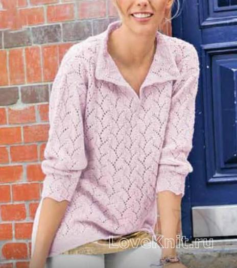 Как связать спицами ажурный пуловер с воротничком