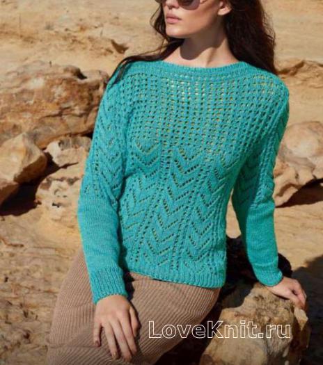 Как связать спицами ажурный пуловер с вырезом лодочка