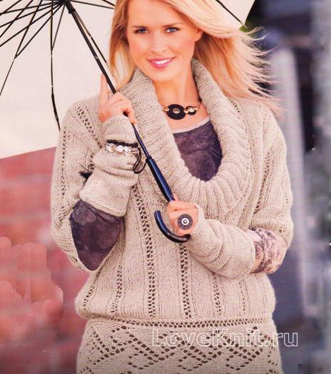 Как связать спицами ажурный серый пуловер и нарукавники