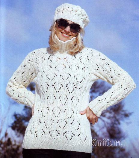 Как связать спицами белый ажурный свитер