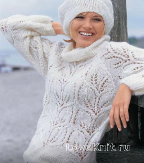 Как связать спицами белый пуловер и берет