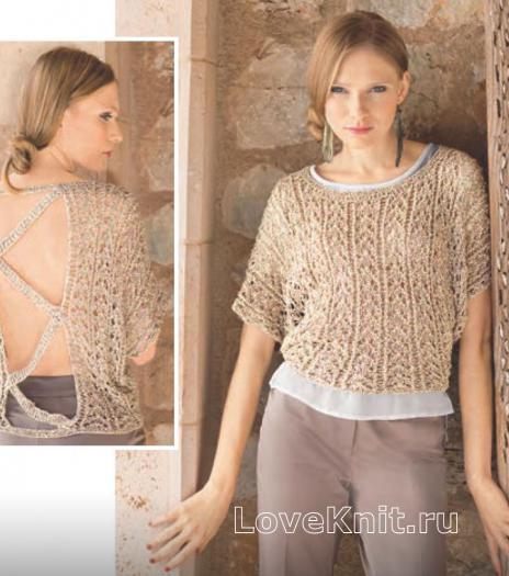 Как связать спицами бежевый пуловер с открытой спиной