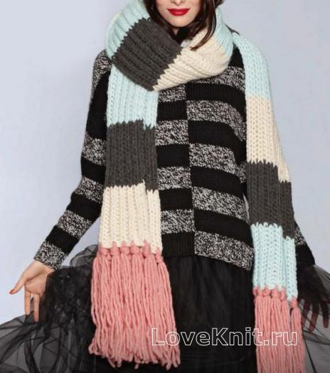 Как связать спицами большой цветной шарф с бахромой и полосатый пуловер