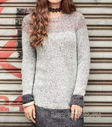 Как связать спицами цветное платье-пуловер