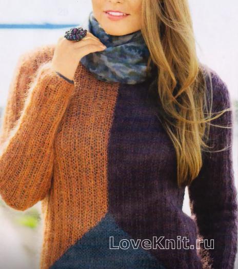 Как связать спицами цветной пуловер из мохера