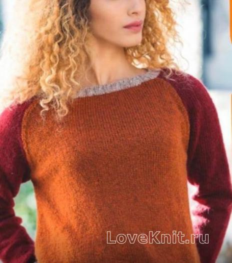 Как связать спицами цветной пуловер с рукавом реглан