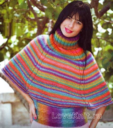 Как связать спицами цветной пуловер свободного покроя