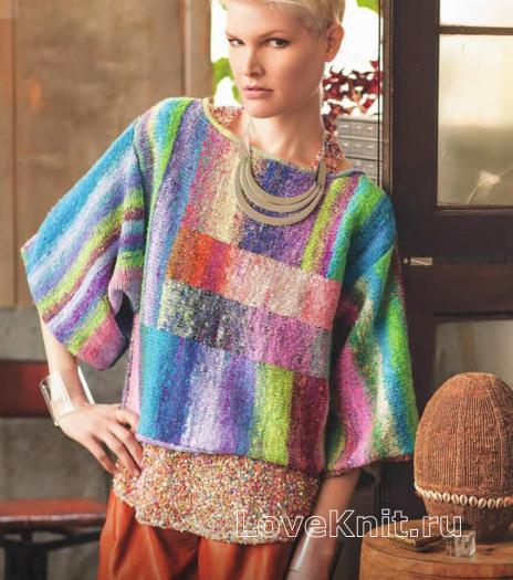 Как связать спицами цветной свитер с широкими рукавами
