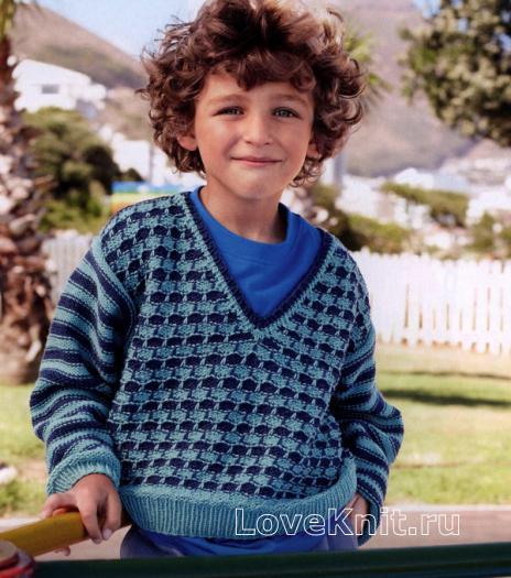 Как связать спицами детский пуловер c v-образным вырезом