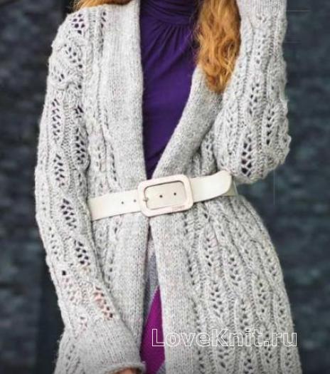 Как связать спицами длинный ажурный кардиган и трехцветная юбка