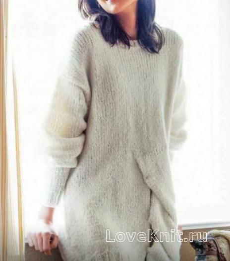 Как связать спицами длинный пуловер-платье с разрезом
