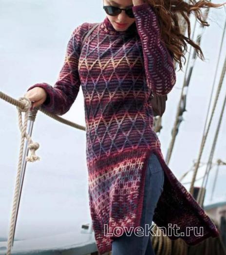 Как связать спицами длинный пуловер с разрезами по бокам