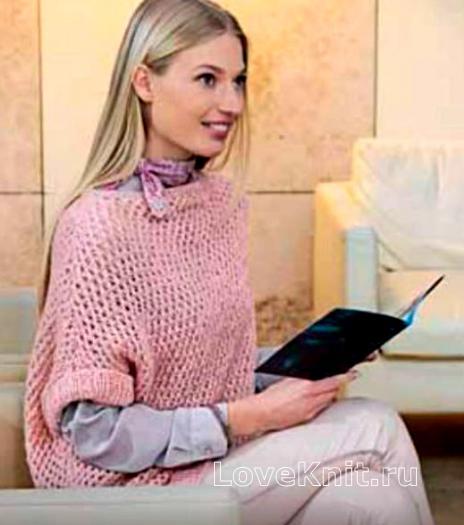Как связать спицами длинный пуловер свободного покроя