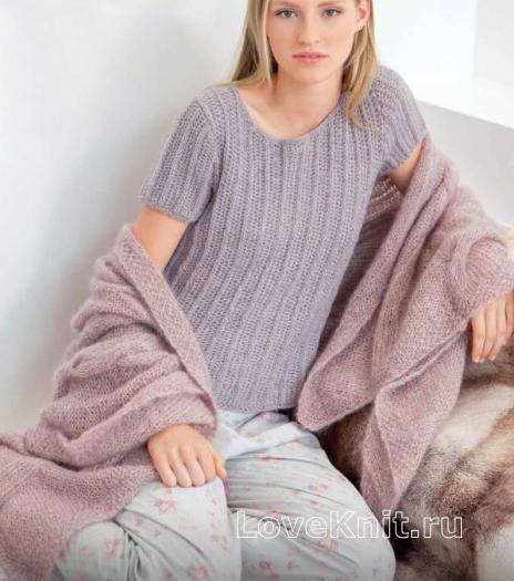 Как связать спицами домашний пуловер английской резинкой