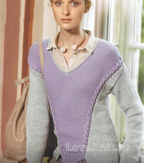 Как связать спицами двухцветный пуловер с окантовкой из кос
