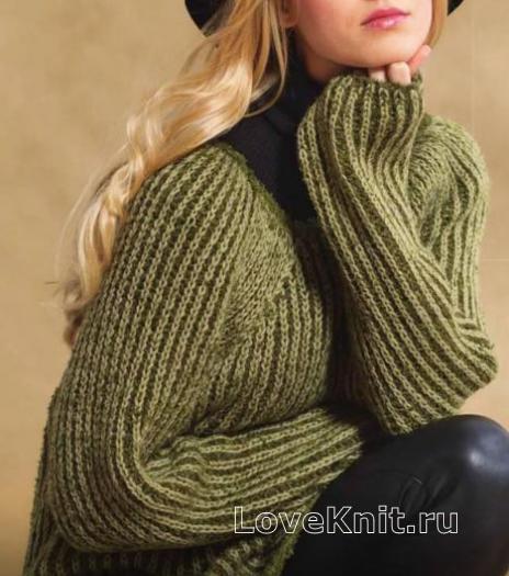 Как связать спицами двухцветный пуловер с рукавом реглан