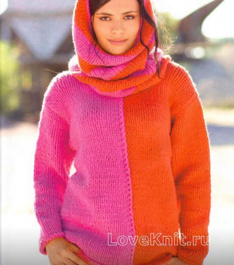 Как связать спицами двухцветный пуловер с воротником-хомут