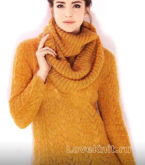 Как связать спицами джемпер с ажурным узором и шарф-хомут