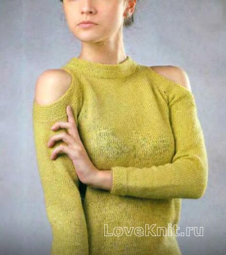 Как связать спицами джемпер с вырезами на плечах