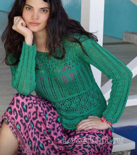 Как связать спицами классический ажурный пуловер с круглым вырезом