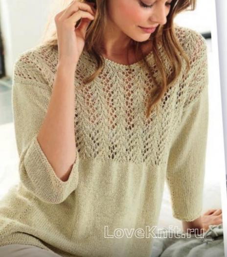 Как связать спицами классический пуловер с ажурной вставкой