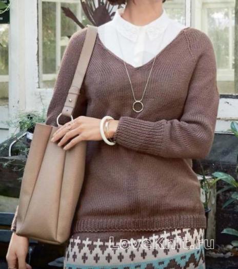 Как связать спицами классический пуловер и жаккардовая мини-юбка