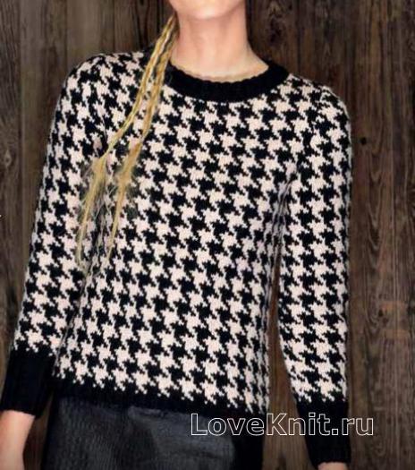 Как связать спицами классический пуловер с жаккардовым узором