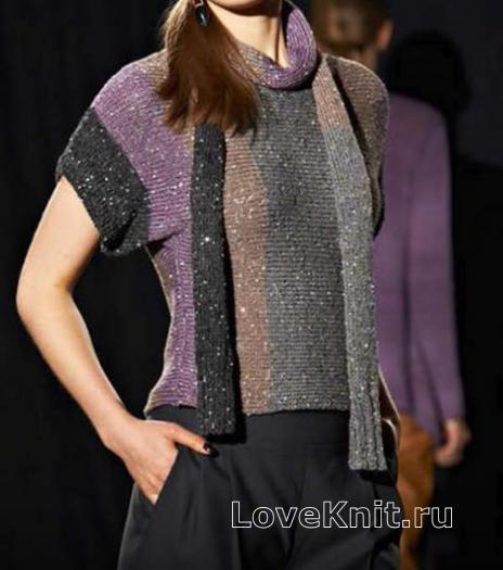 Как связать спицами короткий полосатый пуловер, шапка и шарф