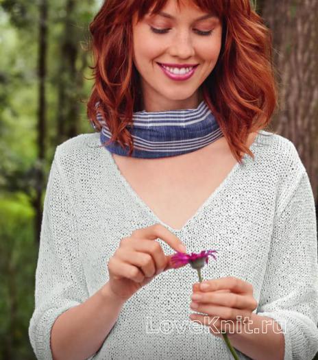 Как связать спицами короткий пуловер с с глубоким v-образным вырезом