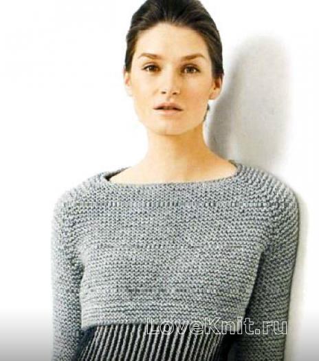 Как связать спицами короткий пуловер с рукавом реглан