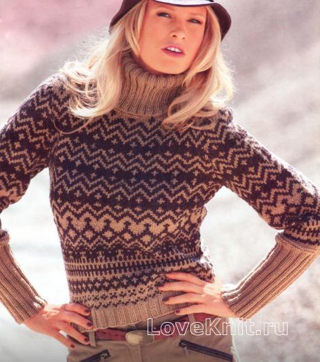 Как связать спицами короткий пуловер с жаккардовым узором