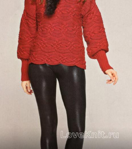 Как связать спицами красный пуловер с заужеными рукавами