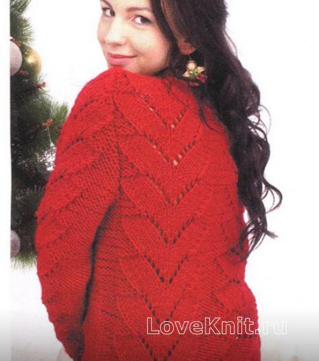 Как связать спицами красный свитер