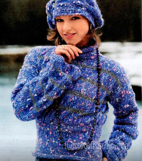 Как связать спицами меланжевый свитер и шапочка