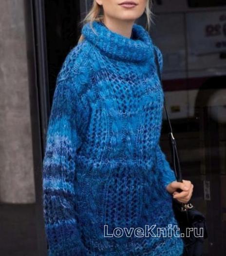 Как связать спицами меланжевый удлиненный свитер оверсайз