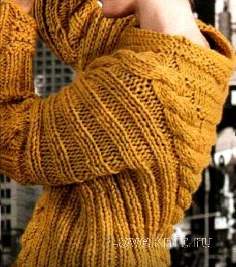 Как связать спицами объемный пуловер с косами