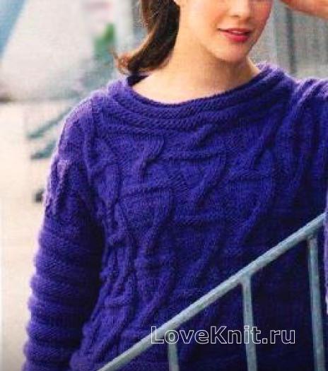 Как связать спицами объемный пуловер с рельефным узором