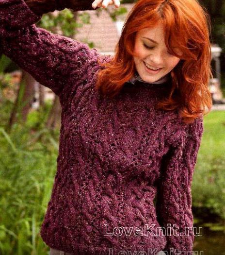 Как связать спицами объемный пуловер с рисунком из кос