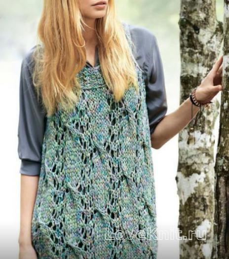Как связать спицами платье-топ с ажурным узором