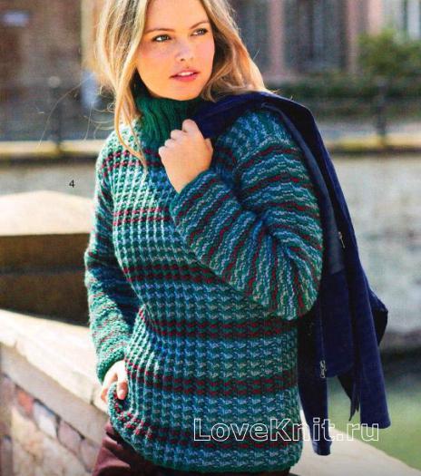 Как связать спицами полосатый цветной свитер