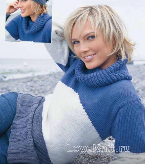 Как связать спицами полосатый пуловер и берет