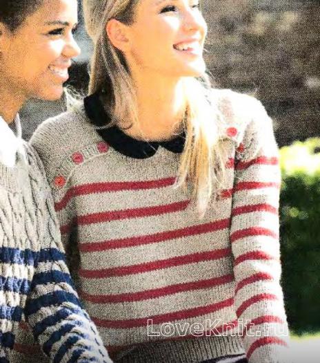 Как связать спицами полосатый пуловер с пуговками на плече