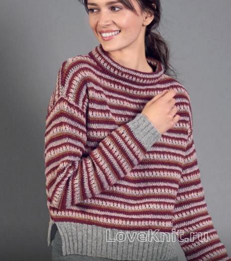 Как связать спицами полосатый пуловер с разрезами по бокам
