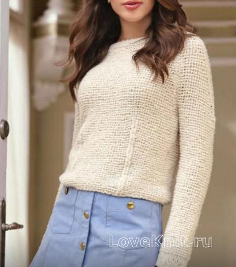 Как связать спицами простой пуловер с платочным узором
