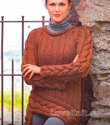 Как связать спицами пуловер с асимметричной длиной и крупными косами