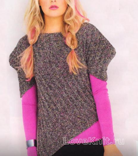 Как связать спицами пуловер с асимметричной длиной и рукавом фонарик