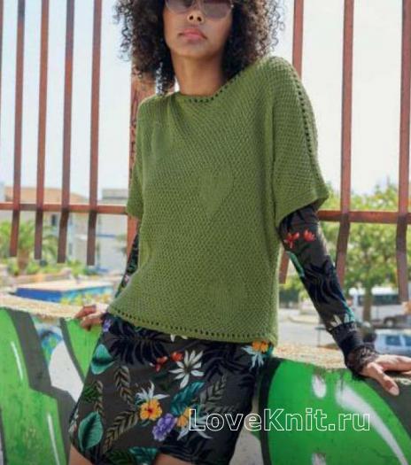 Как связать спицами пуловер с ажурной полосой и рисунком сердечко