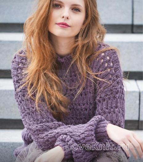 Как связать спицами пуловер с ажурной резинкой