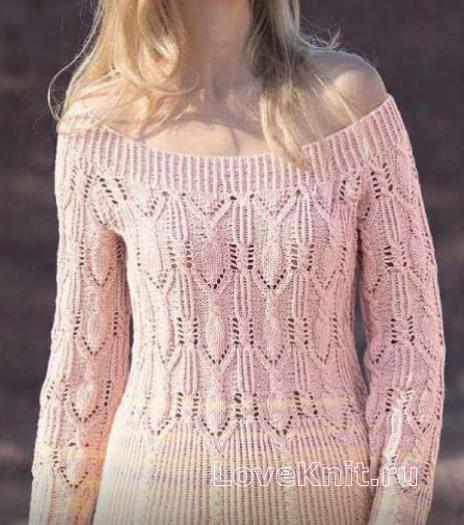 Как связать спицами пуловер с ажурным узором из «кос»